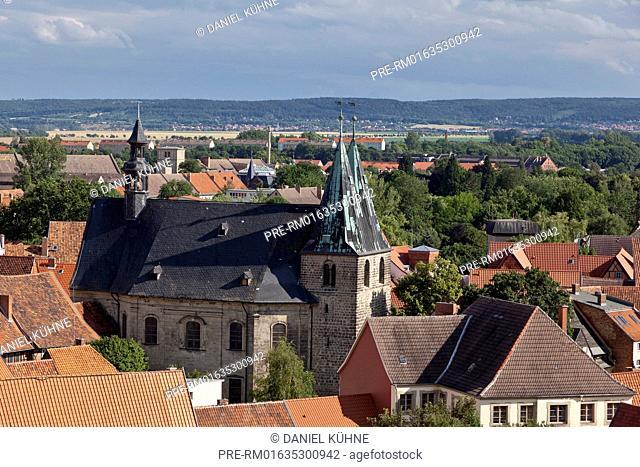 Quedlinburg, city view church St. Blasii, Harz District, Harz, Saxony-Anhalt, Germany / Quedlinburg, Stadtansicht mit Kirche St