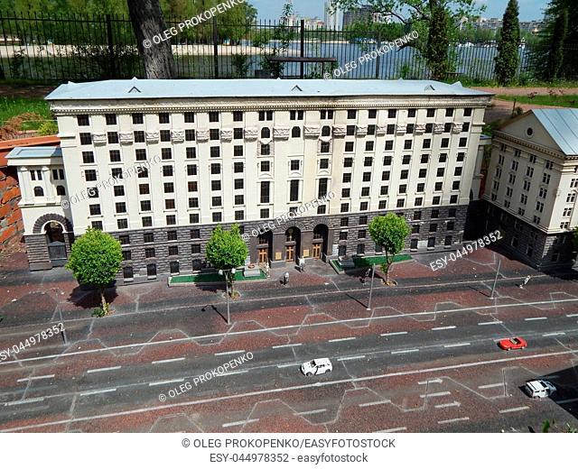 PARK KIEV IN MINIATURE, KIEV, UKRAINE - MAY 1, 2016. Architectural models of the city of Kiev in scale