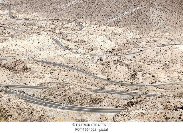 High angle view of Highway 74, Palm Desert, California, USA