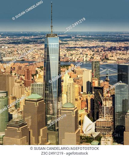 Aerial World Trade Center WTC - Aerial close-up view of One World Trade Center WTC commonly referred to as the Freedom Tower along side other skyscrapers in the...
