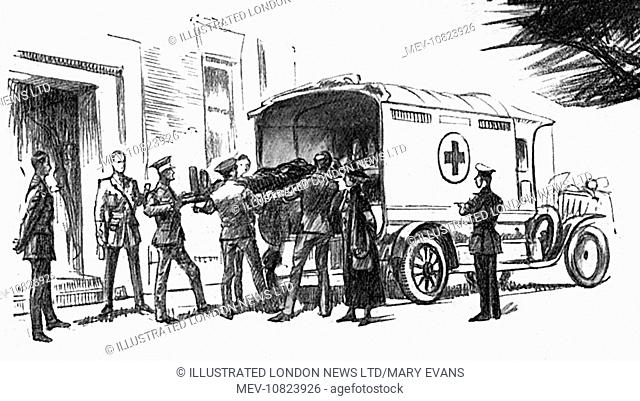 Wounded Soldiers Being Lifted Out Of An Ambulance The London Column On Arriving At