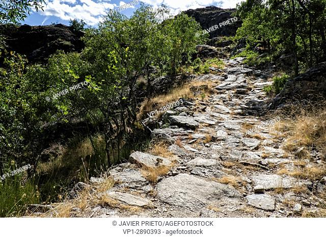 Road section paved in the Path of the Monks. Old Ribadelago. Natural Park of the Lake of Sanabria. Zamora. Castilla y León. Spain