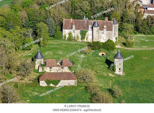France, Vienne, Persac, la Mothe castle (aerial view)