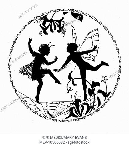 'The Dance' - silhouette of two fairies in circle