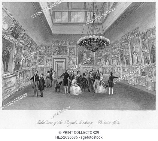 'Exhibition of the Royal Academy. - Private View', c1841. Artists: Henry Melville, William Radclyffe, Edward Radclyffe