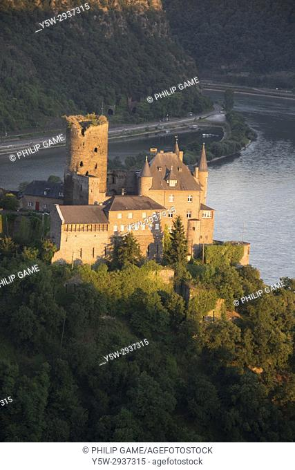Burg Katz perches above St. Goarshausen on the Upper Middle Rhine Valley, Germany