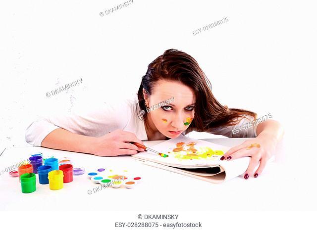 Photo of a depressed female painter. Taken in Riga, Latvia