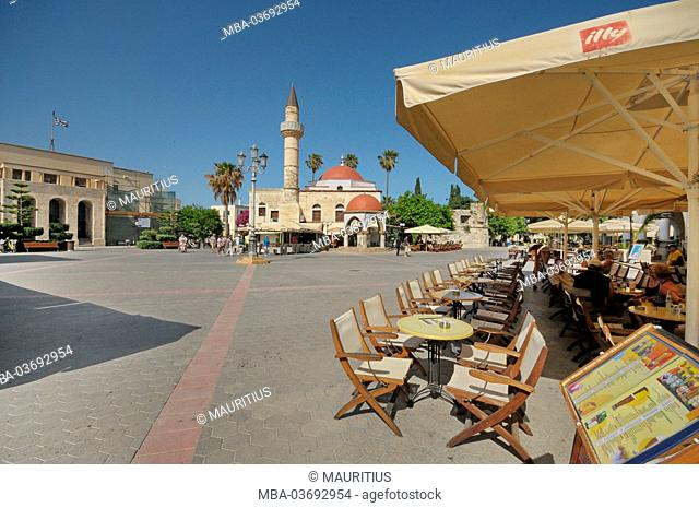 Kos, the southern Aegean Sea, Greece, Agia Paraskevi square, covered market, Defterdar mosque