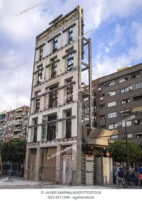 Facade of a demolished building on Avenida del Puerto, Valencia, Spain