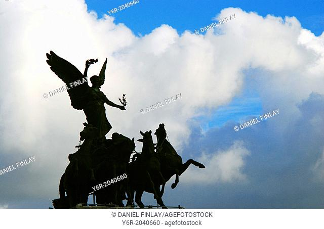 Winged Victory on the Wellington Arch in the heart of London, England, on a fine day