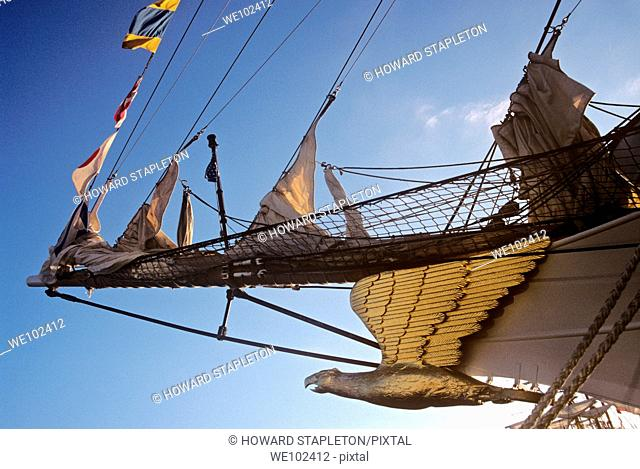 Bow and figurehead of the Coast Guard Sailing barque Eagle at anchor in San Diego, California