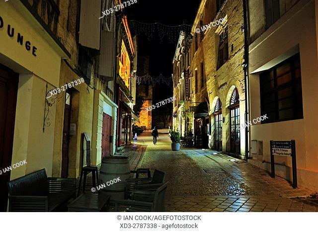 Rue St. James at night, Bergerac, Dordogne Department, Aquitaine, France