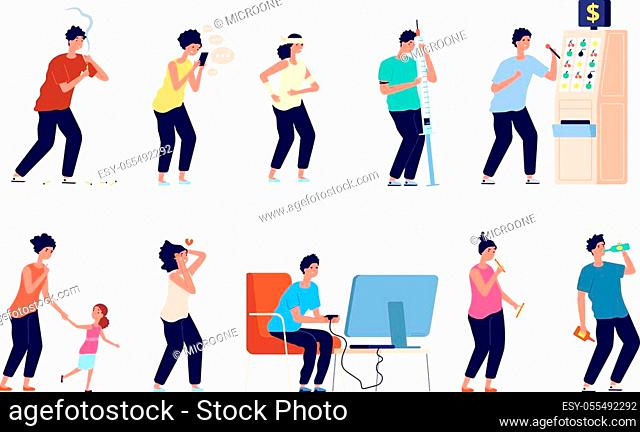 People addiction. Game addicts, drink smoker and various drug habits. Addicted people characters, alcoholism bad abuse vector illustration