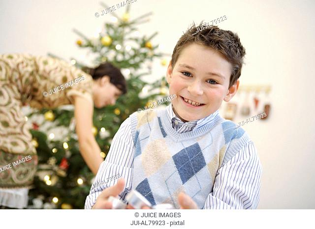 Boy smiling at Christmastime