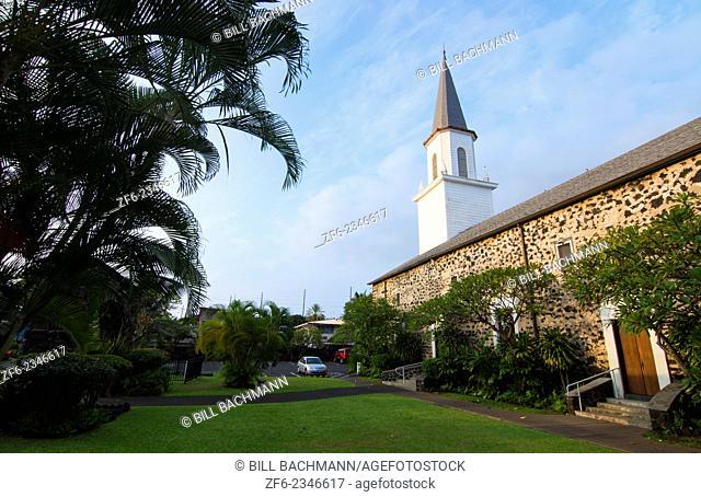 "Kona Hawaii Big Island Kailua-Kona Mokuaikaua Church first church in Hawaii 1830 steeple and rock church the """"Church of the Chimes"""""