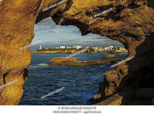 France, Pyrenees Atlantiques, Euskadi, Pays Basque, Biarritz, rock from the waterfront at sunset