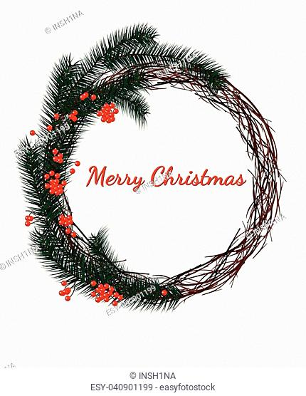 Christmas wreath fir branches, red berries on a white background, Merry Christmas lettering