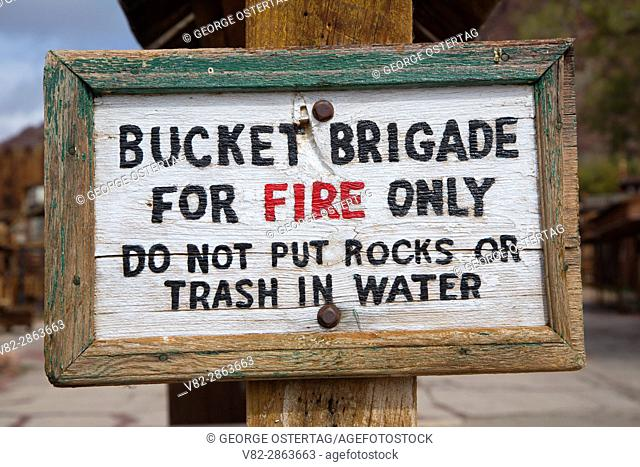 Fire brigade sign, Calico Ghost Town County Park, California