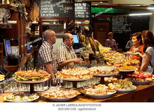 Pintxos, Bar Taberna Aralar, Parte Vieja, Old Town, Donostia, San Sebastian, Gipuzkoa, Basque Country, Spain