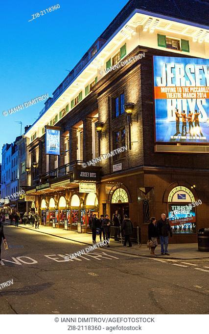 Prince Edward Theatre at night,Old Compton Road,Soho,London,England