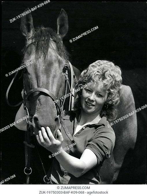 Mar. 03, 1975 - She'll Become The First Girl To Ride In A Professional Race Tomorrow: 20-year old Jane McDonald, pictured here