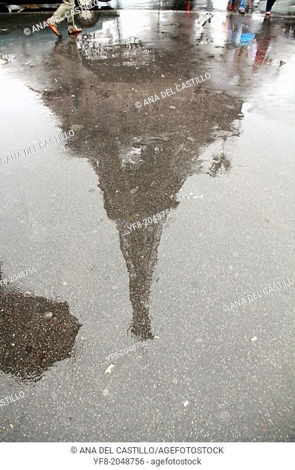 France, Paris, Eiffel Tower in a rainy day