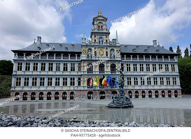 A miniature of the town hall (Stadhuis) of Antwerp, at the exhibition site of Mini-Europe in the Belgian capital Brussels, 26.06.2017