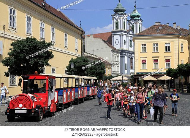 Hungary, Székesfehérvár, Cistercian Church, people; Városház tér;