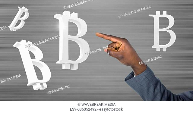 Hand touching bitcoin symbol icons