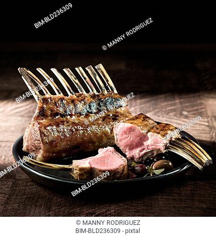 Lamb chops on plate