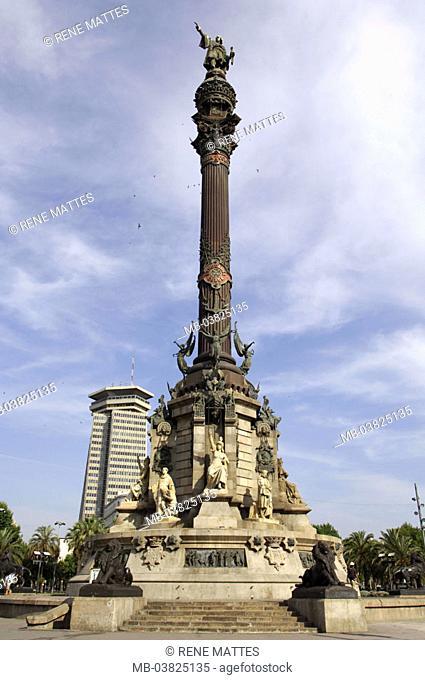 Spain, Barcelona, Placa Del portal de la Pau, Kolumbussäule,   Column monument, Christoph Kolumbus, seafarers, landmarks, sight, tourism, destination