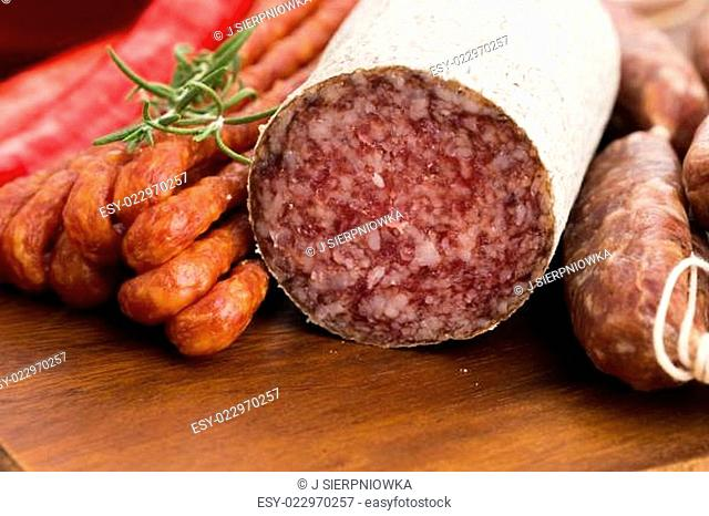 Different sausages and salami