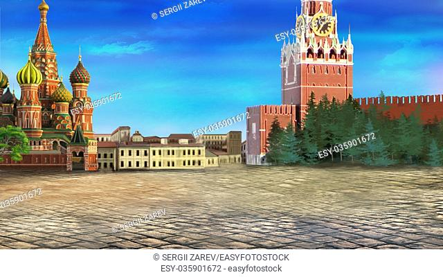 Digital painting of the Red square with Moscow Kremlin
