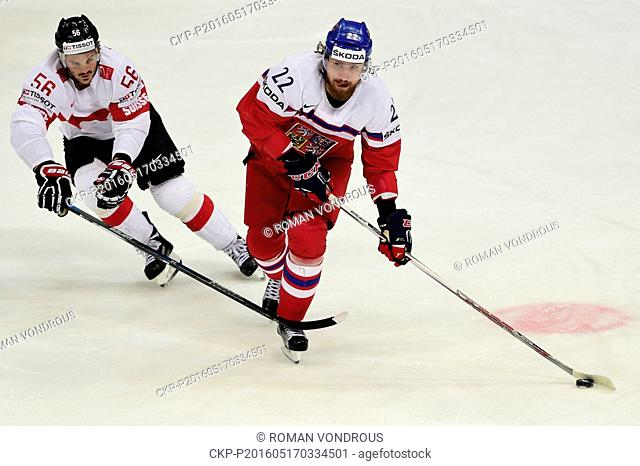 Dino Wieser (CHE), left, and Lukas Kaspar (CZE) in action during the Ice Hockey World Championships Group A match Czech Republic vs Switzerland in Moscow