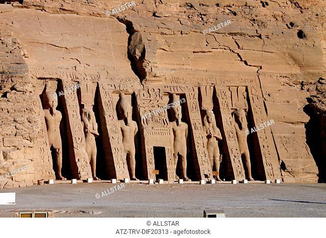 THE SMALL TEMPLE OF HATHOR & NEFERTARI ENTRANCE; ABU SIMBEL, NUBIA, EGYPT; 11/01/2013
