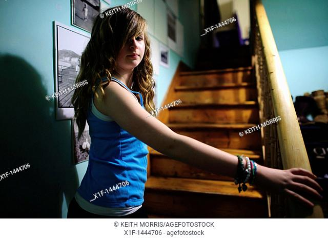 a twelve year old teenage girl at home UK