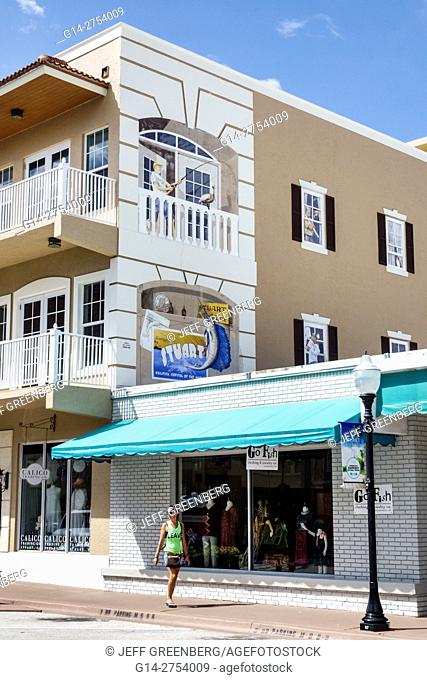 Florida, Stuart, Osceola Street, building, trompe l'oeil, mural, painted