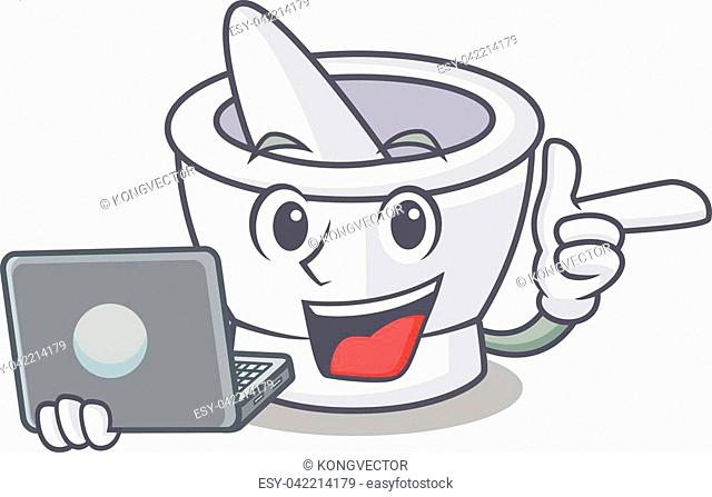 With laptop mortar character cartoon style vector illustration