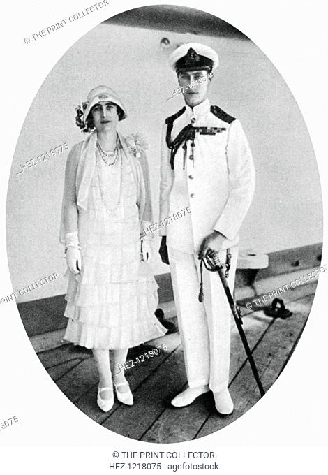 The Duke and Duchess of York on board HMS 'Renown', Malta, 1927, (1937). A photograph from the Illustrated London News: Coronation Record Number, London, 1937