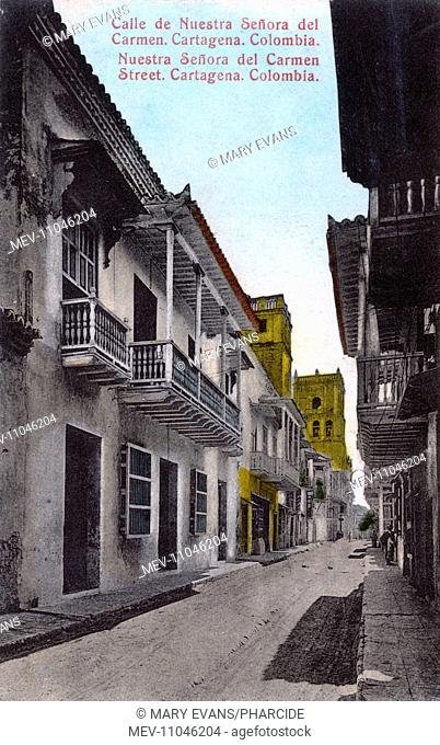 Nuestra Senora del Carmen Street in Cartagena, Colombia, Central America