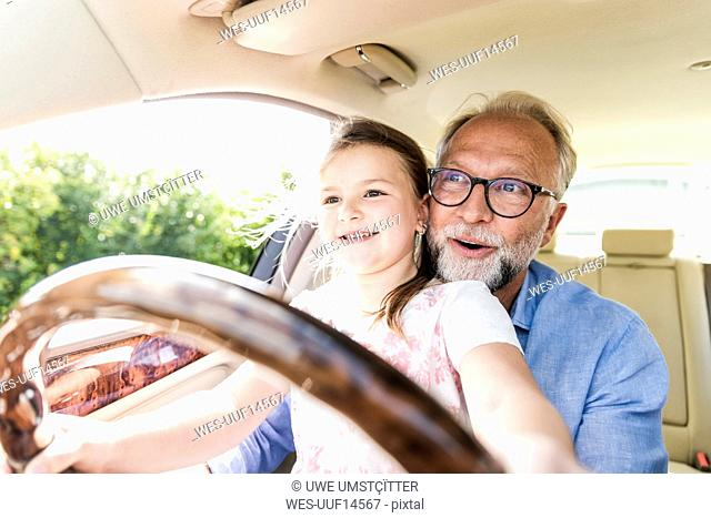 Little girl sitting on lap of grandfather, pretending to steer the car