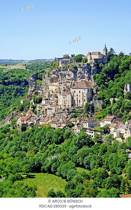 Basilica Saint-Sauveur, Rocamadour, pilgrimage site, Way of St James, Departement Lot, Midi-Pyrenees, France