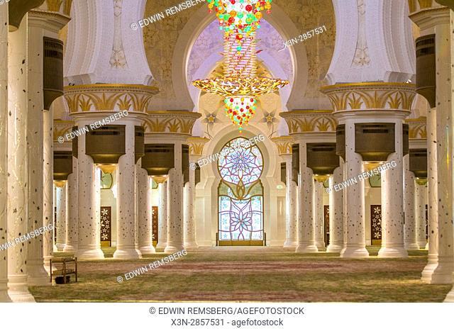 United Arab Emirates - View down hallway inside Sheikh Zayed Mosque in Abu Dhabi