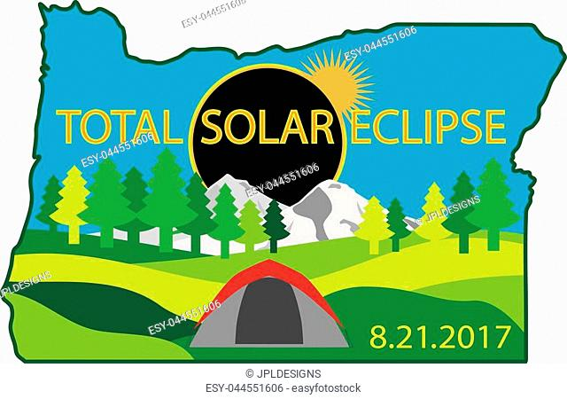 2017 Total Solar Eclipse Path across Oregon State camping tent color illustration