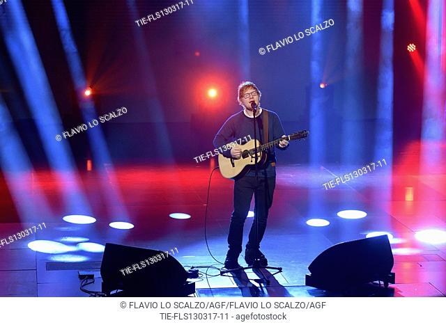 The singer Ed Sheeran during the tv show Che tempo che fa, Milan, ITALY-12/03/2017