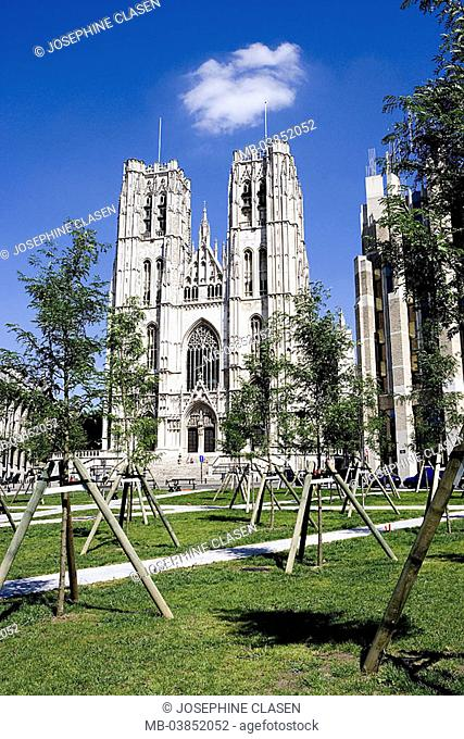 Belgium, Brussels, Michael's cathedral, park, Benelux, capital, church Saint Michel, main-church, 13-15 Jh , style, Brabanter Gothic, architecture, culture