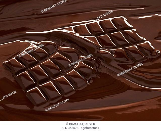 Melting chocolate two halves of a bar