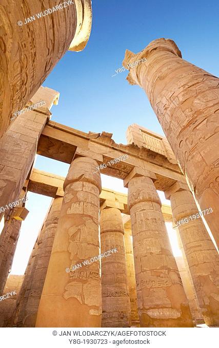 Karnak - Hypostyle Hall in Amun-Re Temple, Karnak, Upper Egypt