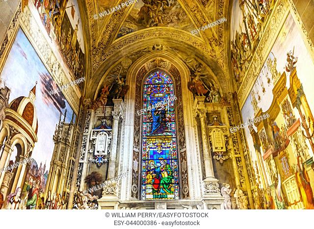 Virgin Mary Stained Glass Window Frescoes Chapel Santa Maria Novella Church Florence Italy. Fresco ceated 1485