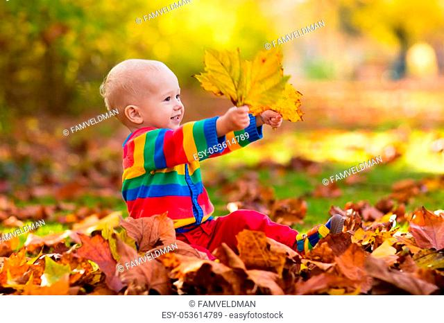 Kids play in autumn park. Children throwing yellow and red leaves. Baby with oak and maple leaf. Fall foliage. Family outdoor fun in autumn